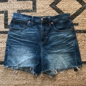 Madewell High Rise Distressed Denim Shorts